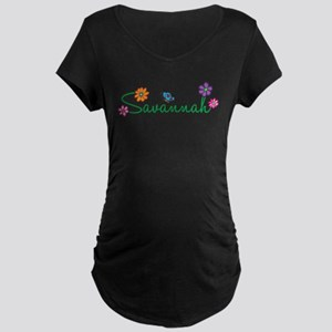 Savannah Flowers Maternity Dark T-Shirt