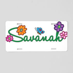 Savanah Flowers Aluminum License Plate