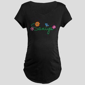 Saniya Flowers Maternity Dark T-Shirt