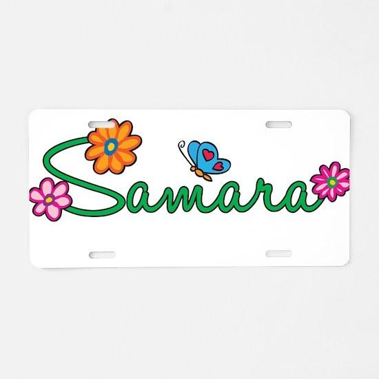 Samara Flowers Aluminum License Plate