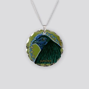 Framed Sumatra Rooster Necklace Circle Charm