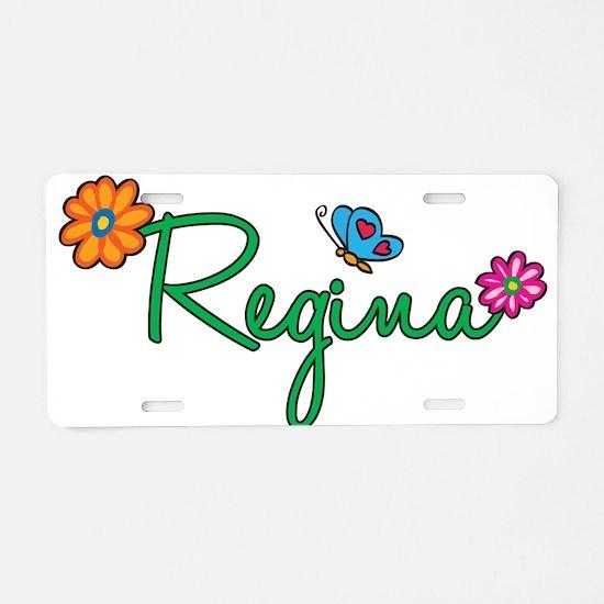 Regina Flowers Aluminum License Plate