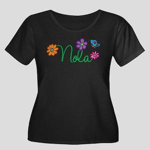 Nola Flowers Women's Plus Size Scoop Neck Dark T-S