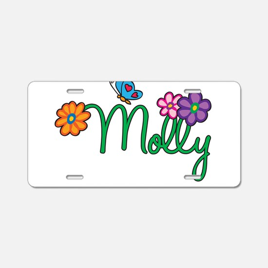 Molly Flowers Aluminum License Plate