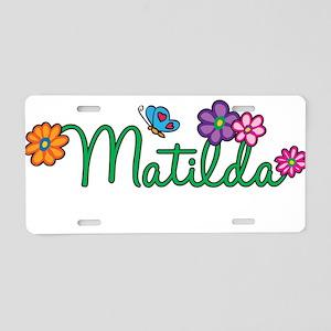 Matilda Flowers Aluminum License Plate