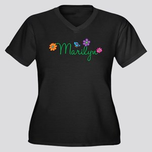 Marilyn Flowers Women's Plus Size V-Neck Dark T-Sh