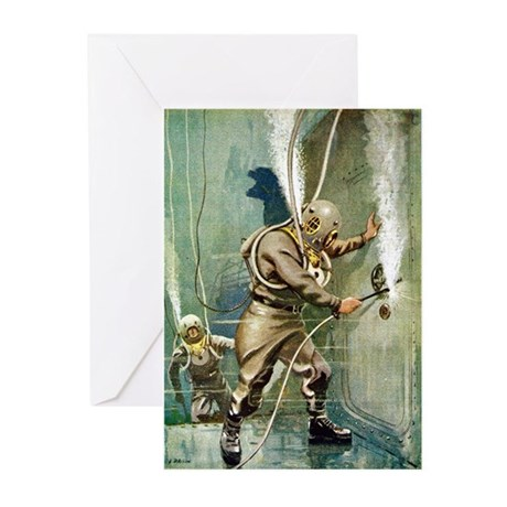 Salvage Divers Welding Greeting Cards (Pk of 10)
