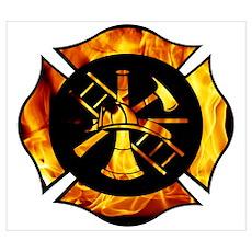 Flaming Maltese Cross Poster