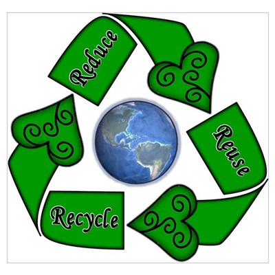 reduce reuse recycle   earth poster