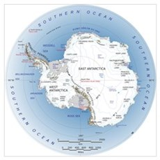 Antarctica Labeled Map Wall Art Poster