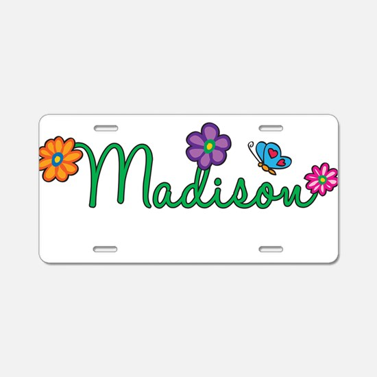 Madison Flowers Aluminum License Plate