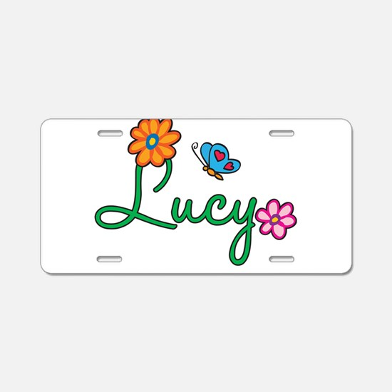 Lucy Flowers Aluminum License Plate