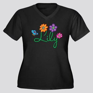 Lily Flowers Women's Plus Size V-Neck Dark T-Shirt