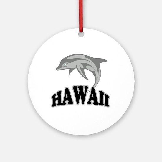 Hawaii Dolphin Souvenir Ornament (Round)