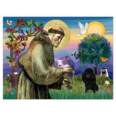 St. Francis & Black Poodle #2 Poster