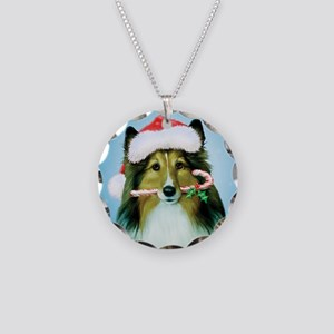 Shetland Sheepdog Christmas Necklace Circle Charm