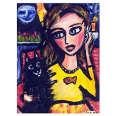 Schipperke w lady on cell pho Poster