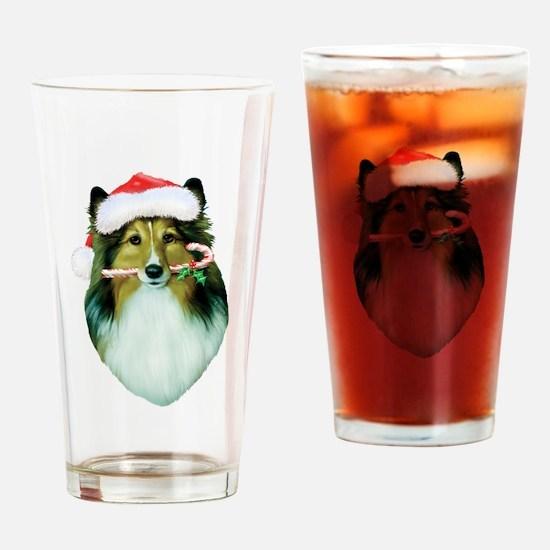 Shetland Sheepdog Christmas Drinking Glass