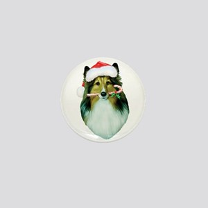 Shetland Sheepdog Christmas Mini Button