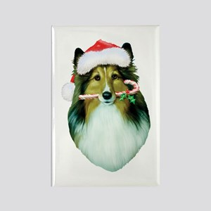 Shetland Sheepdog Christmas Rectangle Magnet