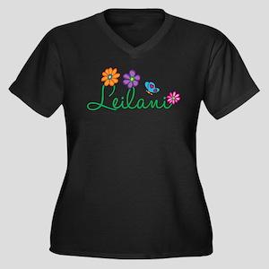 Leilani Flowers Women's Plus Size V-Neck Dark T-Sh