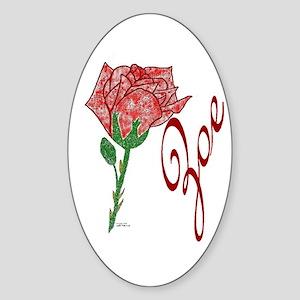 Red Rose Zoe Oval Sticker