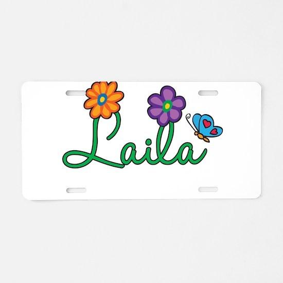 Laila Flowers Aluminum License Plate