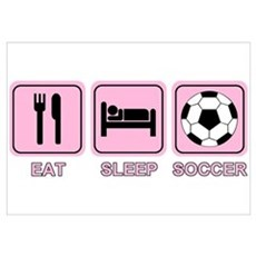 EAT SLEEP SOCCER (pink) Poster