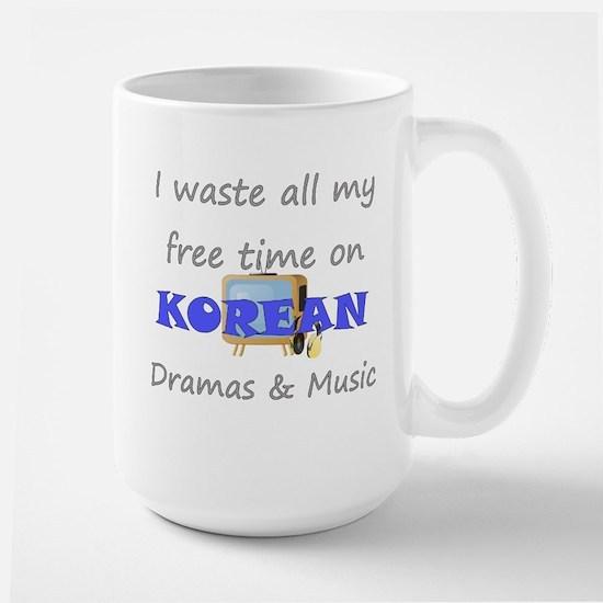 I waste all my time on Korean Large Mug