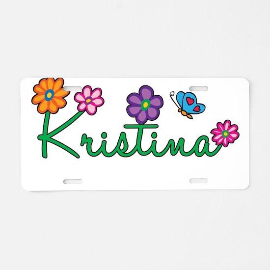 Kristina Flowers Aluminum License Plate
