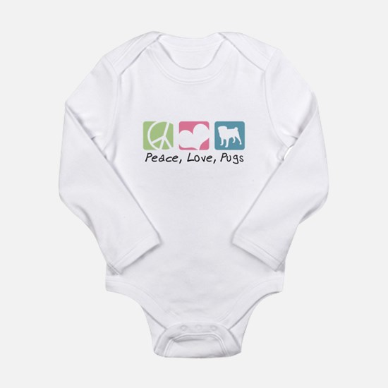 Peace, Love, Pugs Long Sleeve Infant Bodysuit