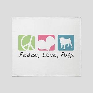 Peace, Love, Pugs Throw Blanket