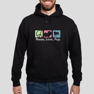 Peace, Love, Pugs Hoodie (dark)