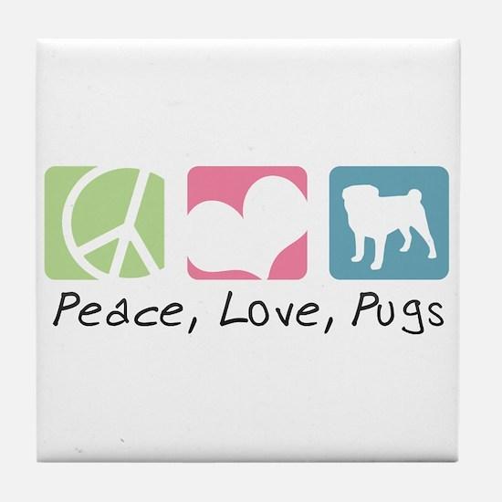 Peace, Love, Pugs Tile Coaster