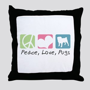 Peace, Love, Pugs Throw Pillow