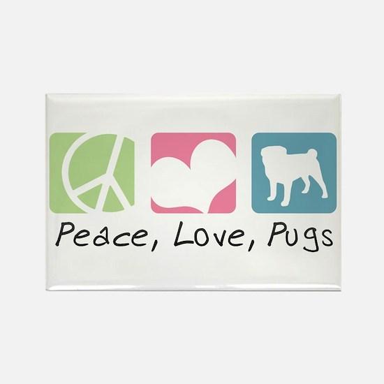 Peace, Love, Pugs Rectangle Magnet