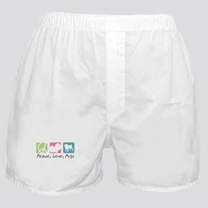 Peace, Love, Pugs Boxer Shorts
