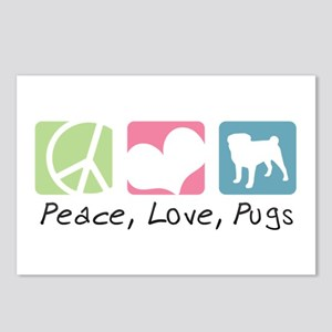 Peace, Love, Pugs Postcards (Package of 8)