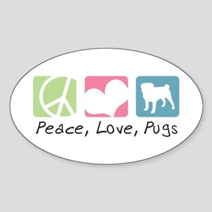 Peace, Love, Pugs Sticker (Oval)