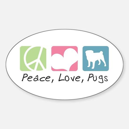 Peace, Love, Pugs Sticker (Oval)
