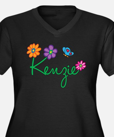 Kenzie Flowers Women's Plus Size V-Neck Dark T-Shi