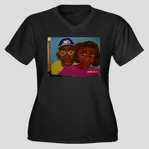 Chelsa Women's Plus Size V-Neck Dark T-Shirt