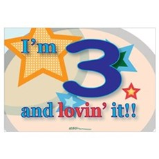 3 and lovin' it Framed Print