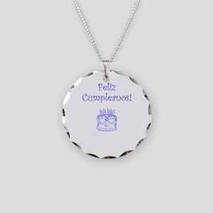 Spanish Birthday Blue Necklace Circle Charm