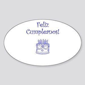Spanish Birthday Blue Sticker (Oval)