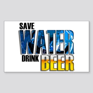 Save Water Drink Beer Sticker (Rectangle)