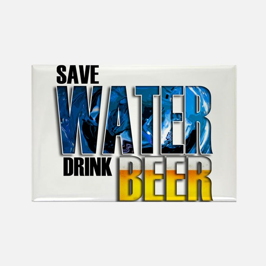Save Water Drink Beer Rectangle Magnet