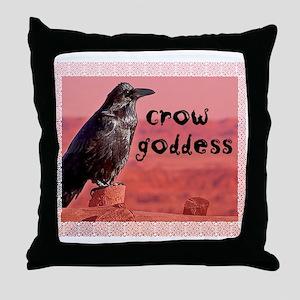Crow Goddess Throw Pillow