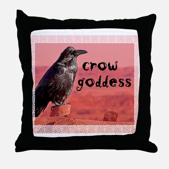 Crow Goddess Throw Pillow