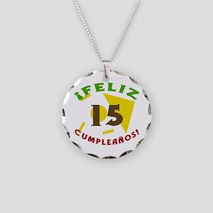 Feliz Cumpleaños (15) Necklace Circle Charm